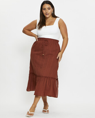 You & All - Women's Green Maxi skirts - Plus Side Slit Maxi Skirt - Size One Size, 16 at The Iconic