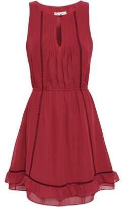Rebecca Minkoff Lorena Lattice-trimmed Crepe De Chine Mini Dress