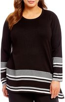 Calvin Klein Plus Striped Angle Hem Sweater