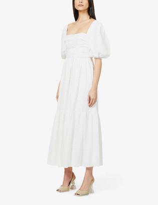 Self-Portrait Puffed-sleeve woven midi dress