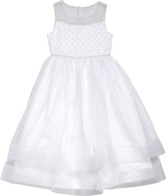 Iris & Ivy Beaded Illusion Tulle First Communion Dress