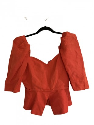 Maryam Nassir Zadeh Red Linen Tops