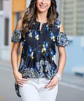 Reborn Collection Women's Tunics Black - Black & Blue Paisley Cold Shoulder Tunic - Women & Plus