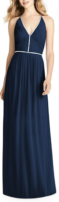 Jenny Packham Bridesmaids V-Neck Sleeveless Cross-Back Luxe Chiffon Gown Bridesmaid Dress