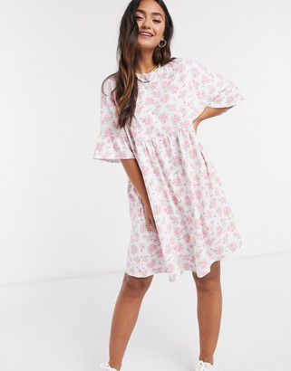ASOS DESIGN mini smock dress with frill sleeve in pink and white floral print