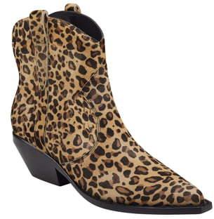 Sigerson Morrison Tacy Leopard Spot Genuine Calf Hair Western Bootie