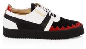 Giuseppe Zanotti Leather& Knit Low-Top Sneakers