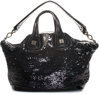 Givenchy Black Sequin & Leather Nightingale Sequin Satchel