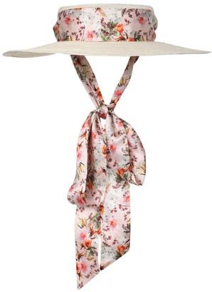Gigi Burris Millinery X Markarian Floral Print Straw Boater Hat