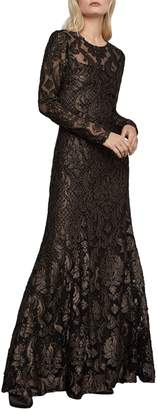 BCBGMAXAZRIA Lace Burnout Long-Sleeve Gown