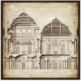 PTM Images Vintage Building Drawing Framed Gallery Wrapped Canvas