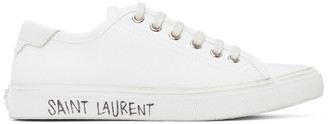 Saint Laurent White Canvas Malibu Sneakers