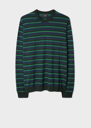Paul Smith Men's Khaki Block Stripe Merino-Wool Sweater