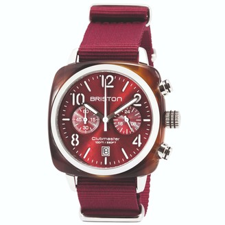 Briston Watches Briston Clubmaster Classic Chronograph Tortoise Shell Acetate, Burgundy Sunray Dial