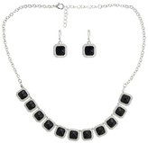 """Women's Fashion Necklace and Earring Set with Stones - Black and Silver (17"""")"""