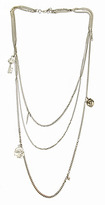 Yochi Extra Long Silver Multi Chain Necklace