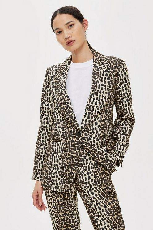 Topshop Womens Petite Brown Leopard Print Suit Jacket
