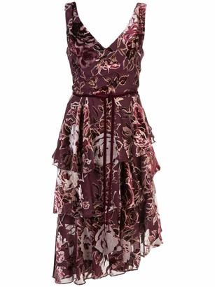 Marchesa Notte Print Asymmetric Cocktail Dress