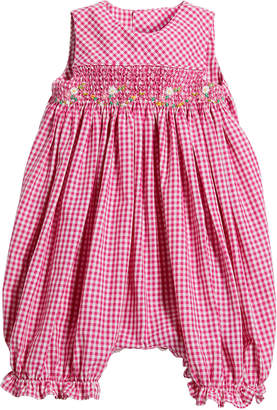Luli & Me Girl's Gingham Smocked Bubble Playsuit, Size 6-24 Months