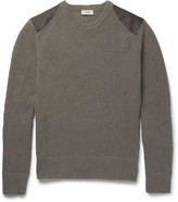Belstaff - Buckley Textured Leather-panelled Ribbed Merino Wool Sweater