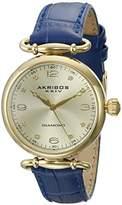 Akribos XXIV Women's AK878BR Round Rose Gold Dial Three Hand Quartz Brown Leather Strap Watch