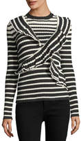 MSGM Ruffle Front Striped Rib-Knit Sweater