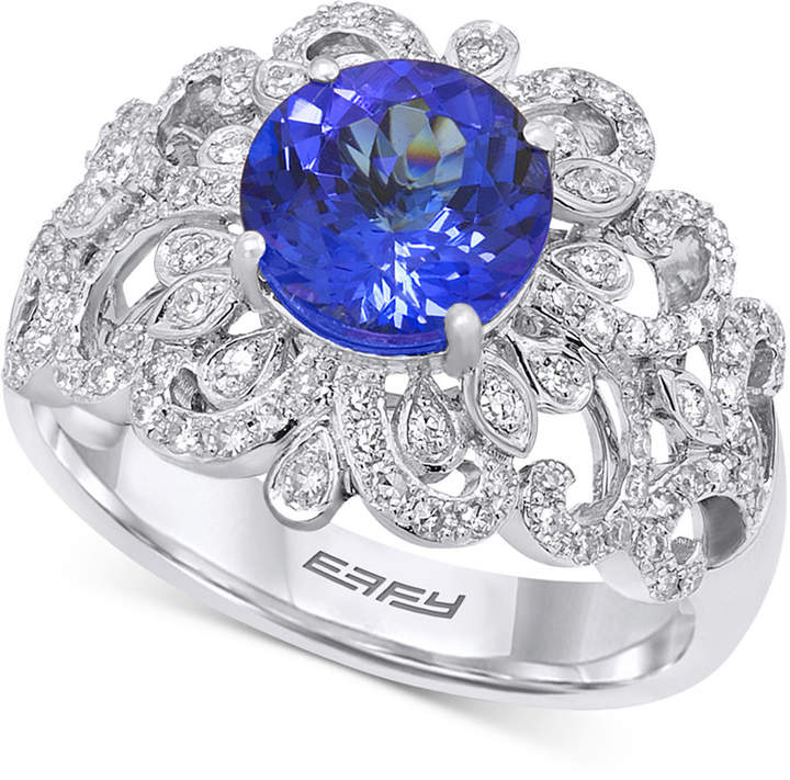 Effy Tanzanite (1-9/10 ct. t.w.) and Diamond (1/2 ct. t.w.) Ring in 14k White Gold, Created for Macy's
