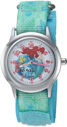 Disney Girls Princess Ariel Stainless Steel Analog-Quartz Watch with Nylon Strap