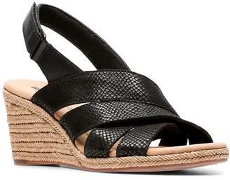 Clarks Women's Sandals Black - Black Leather Lafley Krissy Espadrille - Women