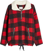 Etoile Isabel Marant Zipped Plaid Pullover with Wool