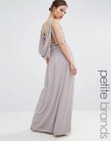 TFNC Petite Wedding Embellished Drape Back Maxi Dress