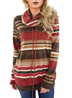 Actloe Women Cowl Neck Striped Color Block Long Sleeve Drawstring Pullover Tops Casual Sweatshirt with Pocket Maternity Top