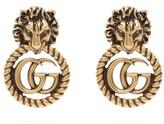 Gucci GG Lion Door-knocker Earrings - Womens - Gold