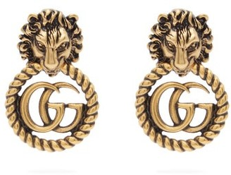 Gucci GG Lion Door-knocker Earrings - Womens - Gold