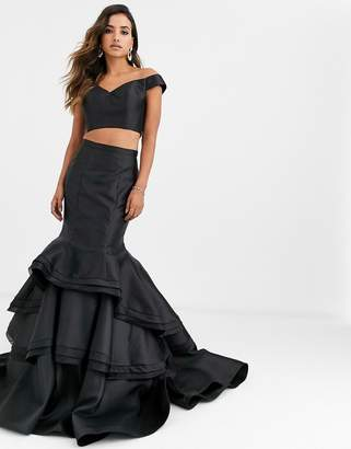 Jovani two pieces with ruffle skirt-Black