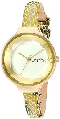 RumbaTime Women's Orchard Gem Exotic Stainless Steel Japanese-Quartz Watch with Leather-Calfskin Strap