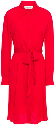 Diane von Furstenberg Dory Belted Stretch-silk Crepe De Chine Shirt Dress