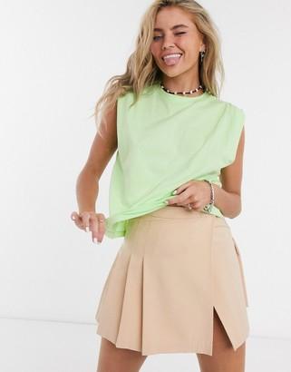 Bershka volume shoulder t-shirt in lime