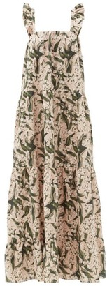 Adriana Degreas Lily Of The Valley-print Tiered Linen-blend Dress - Green Print