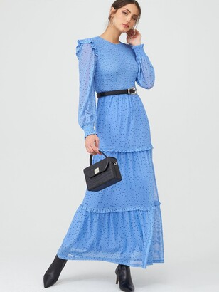 Very Smocked Tiered Maxi Dress - Blue