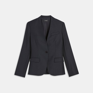 Theory Staple Collarless Blazer in Sleek Flannel