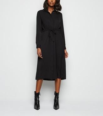 New Look Drawstring Long Sleeve Midi Shirt Dress