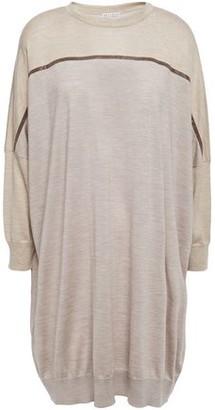 Brunello Cucinelli Oversized Bead-embellished Melange Cashmere And Silk-blend Sweater