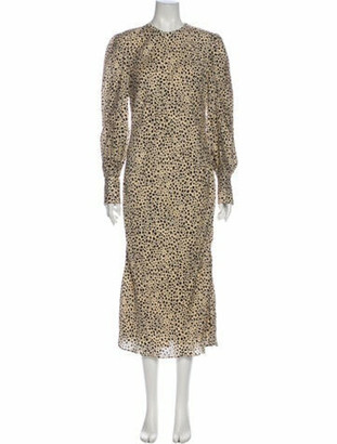 Rebecca Vallance Animal Print Long Dress Brown