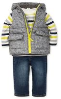 Little Me Baby Boy's Three-Piece Puffer Vest Hoodie Top & Jeans Set