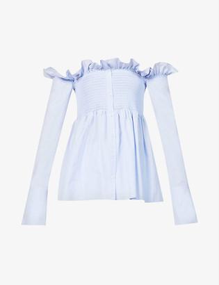 Victoria Victoria Beckham Off-the-shoulder flared-hem cotton blouse