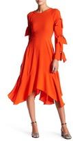 BCBGMAXAZRIA Satin Back Long Sleeve Crepe Dress