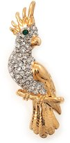 Avalaya Plated Clear Austrian Crystal Parrot Bird Brooch - 50mm L