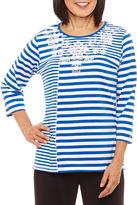 Alfred Dunner Easy Going 3/4 Sleeve Crew Neck Stripe T-Shirt-Womens