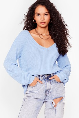 Nasty Gal Womens 'Til V Work It Out Knitted Sweater - Baby Blue